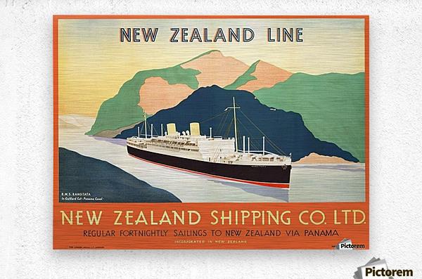 Vintage travel advert for transport to New Zealand via Panama  Metal print