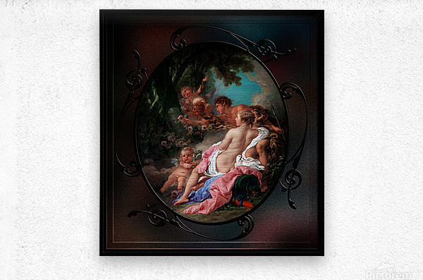 Angelica and Medoro by Francois Boucher Classical Fine Art Xzendor7 Old Masters Reproductions  Metal print
