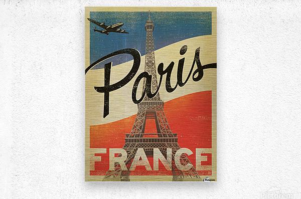 Paris France Vintage Poster  Metal print