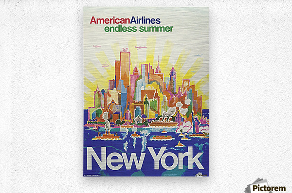 New York American Airlines endless summer travel poster  Metal print