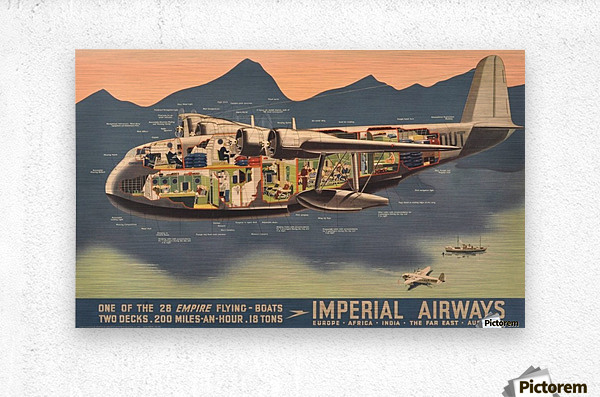 Original Vintage Travel Advertising Poster for Imperial Airways Empire  Metal print