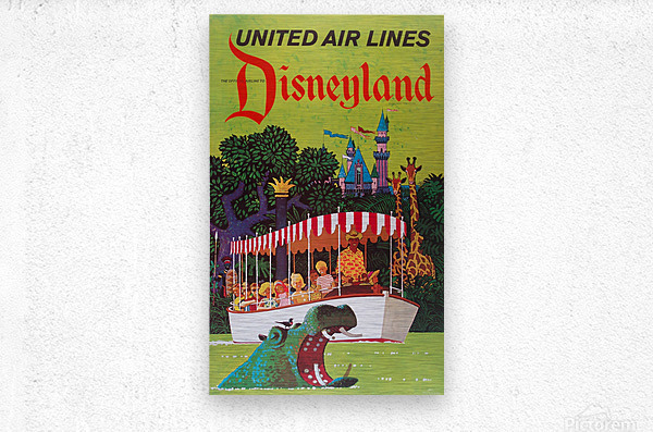 United Air Lines the official airline to Disneyland poster  Metal print
