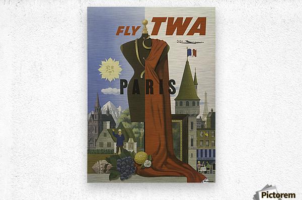 Fly TWA Paris Tourism Poster  Impression metal