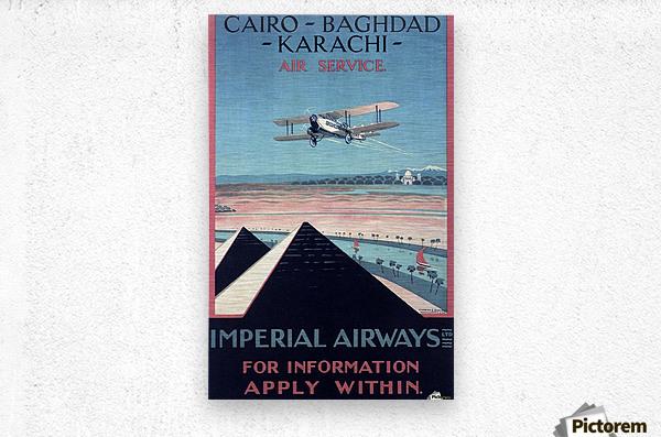 Airways Cairo Baghdad Karachi Vintage Travel Poster  Metal print