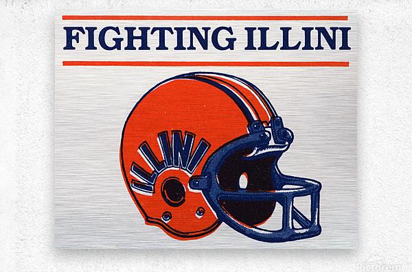 Retro Illinois Football Helmet Art  Metal print