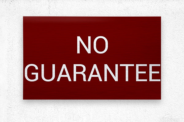 NO GUARANTEE blood red by Lenie Blue  Metal print