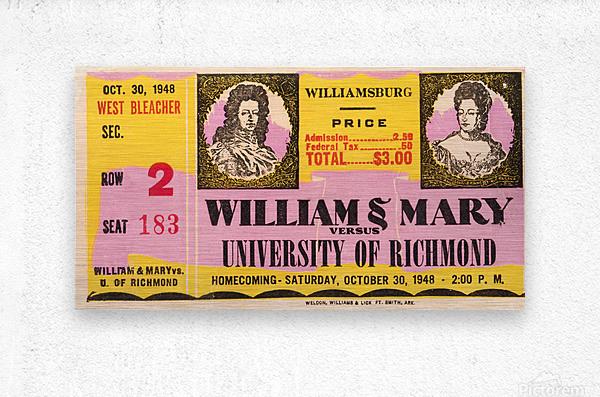 1948 William and Mary vs. Richmond  Metal print
