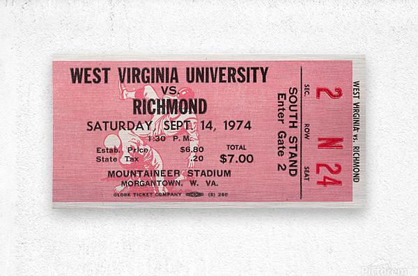 1974 West Virginia Mountaineers vs. Richmond Spiders  Metal print