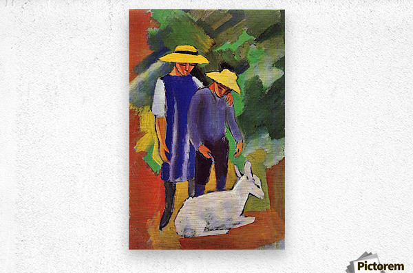 Children with goat by August Macke  Metal print