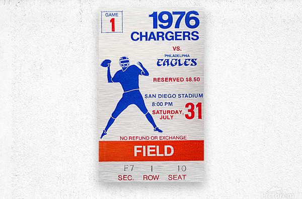 1976 San Diego Chargers vs. Philadelphia Eagles  Metal print