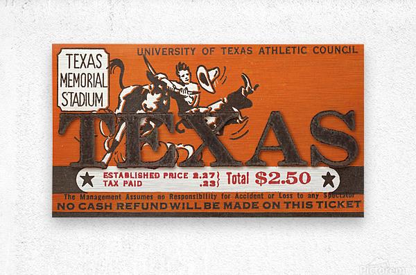 Vintage Thirties Texas Longhorn Football Ticket Remix Art  Metal print