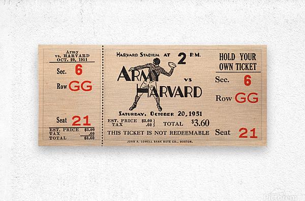 1951 Army vs. Harvard Football Ticket Art  Metal print
