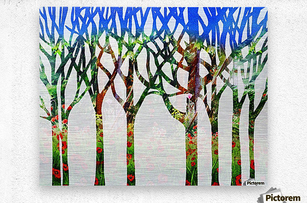 Watercolor Forest Silhouette Summer  Metal print