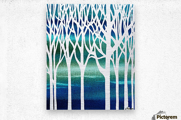 Blue Teal Forest   Metal print