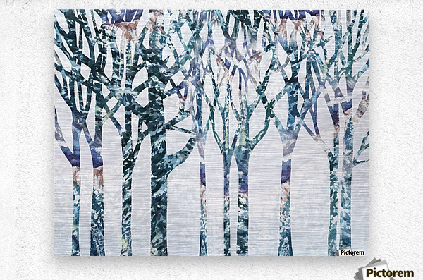 Watercolor Forest Silhouette Winter  Metal print