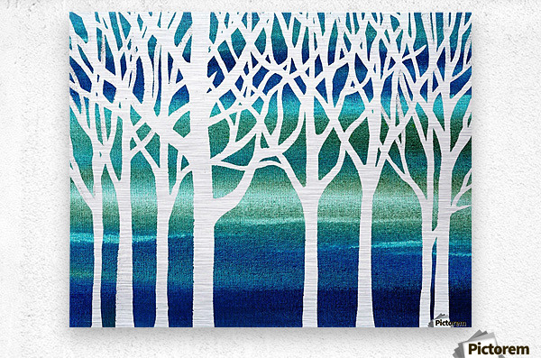 White And Teal Forest  Metal print