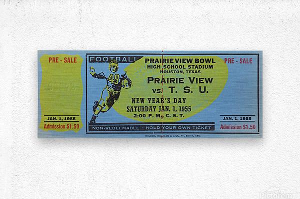 1955 Prairie View AM Panthers vs. Texas Southern Tigers Ticket Stub Art   Metal print