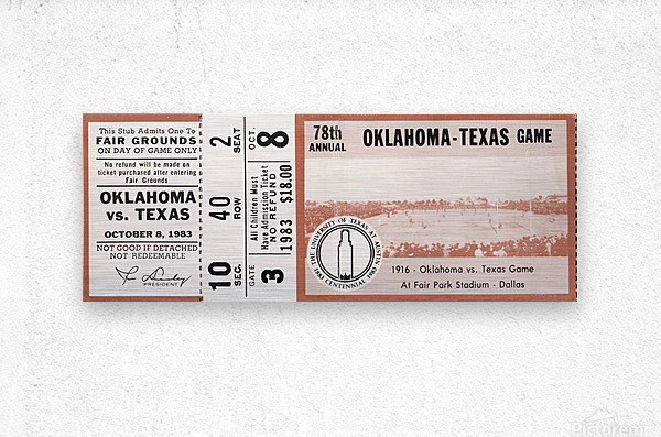1983 Oklahoma Sooners vs. Texas Longhorns  Metal print