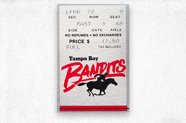 1985 Tampa Bay Bandits Ticket Stub Art  Metal print