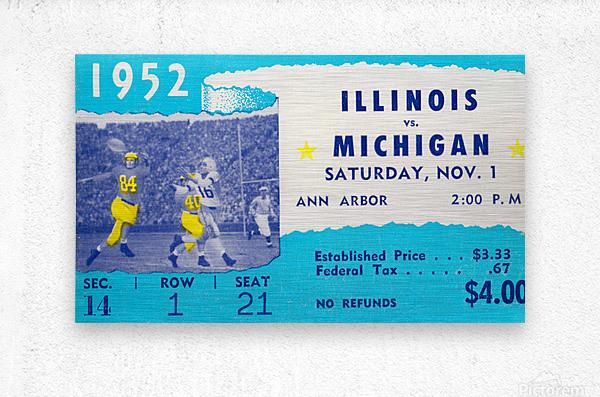 1952 Illinois vs. Michigan Football Ticket Stub Art  Metal print