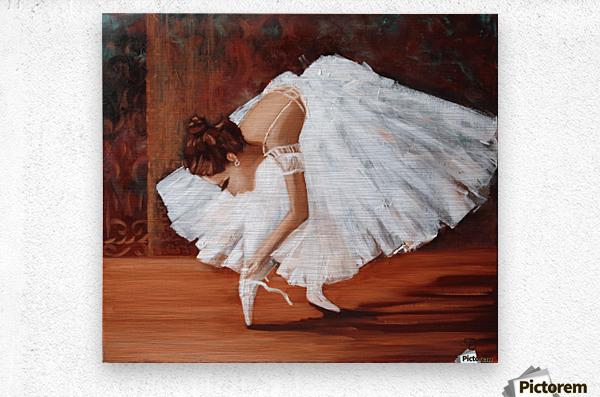 Ballerina fixing her slippers  Metal print