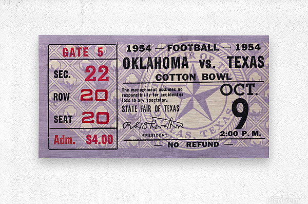 1954 Oklahoma Sooners vs. Texas Longhorns  Metal print