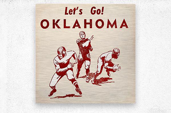 1952 Vintage Oklahoma Football Art  Metal print
