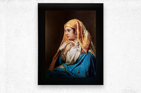 Contemplation by Belgian Painter Jean-Francois Portaels Classical Fine Art Xzendor7 Old Masters Reproductions  Metal print