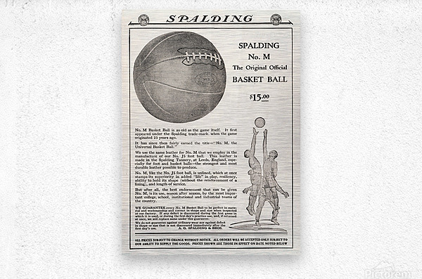 1921 Spalding Basketball Advertisement Poster  Metal print