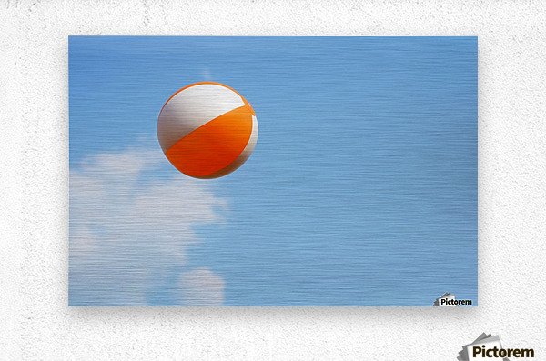 Beach ball on top of cloud  Metal print