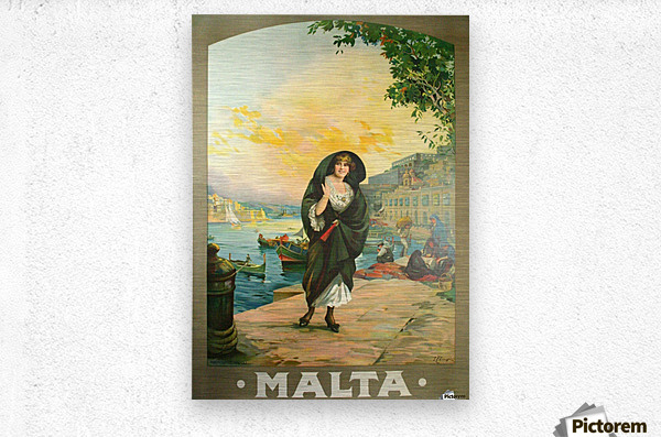 Original travel poster for Malta in 1900  Metal print