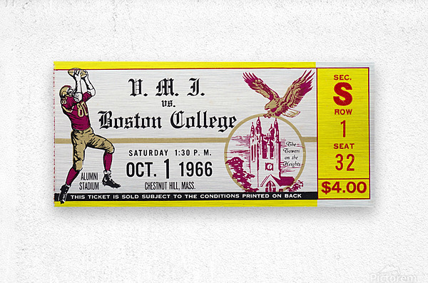 1966 VMI vs. Boston College Eagles Football Ticket Stub Art  Metal print