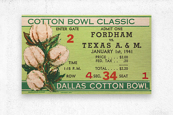1941 Fordham vs. Texas AM Cotton Bowl Ticket Art  Metal print