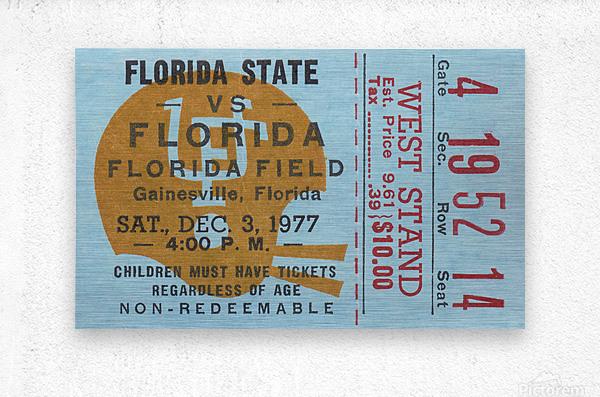1977 Florida State vs. Florida Football Ticket Art  Metal print