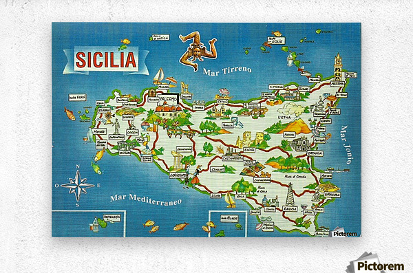 Daniele Pennisi vintage poster for Sicilia  Metal print