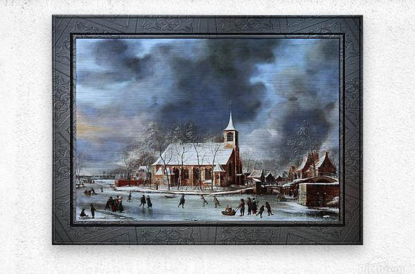 Gezicht op de Kerk te Sloten in de Winter by Jan Abrahamsz Beerstraaten Classical Fine Art Xzendor7 Old Masters Reproductions  Metal print