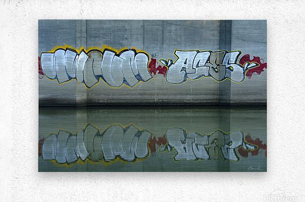 Reflet sous un pont - Reflection under a bridge  Metal print