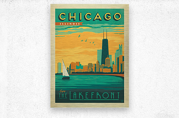 Chicago Lakefront travel poster  Metal print