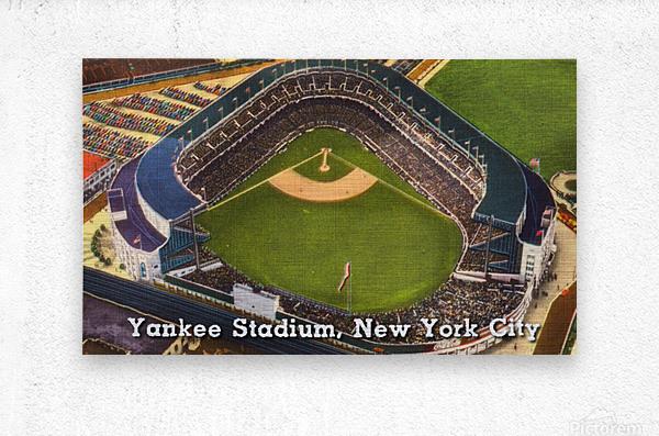 Vintage Yankee Stadium Postcard Art  Metal print