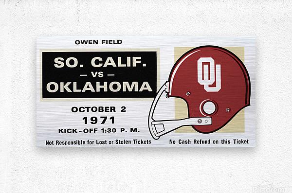 1971 USC vs. Oklahoma Football Ticket Stub Remix Art   Metal print
