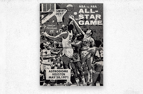 1971 NBA vs. ABA All-Star Game Program Art  Metal print