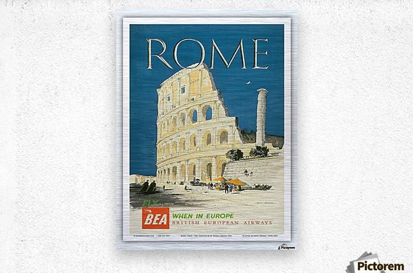 British European Airways travel poster for Rome  Metal print