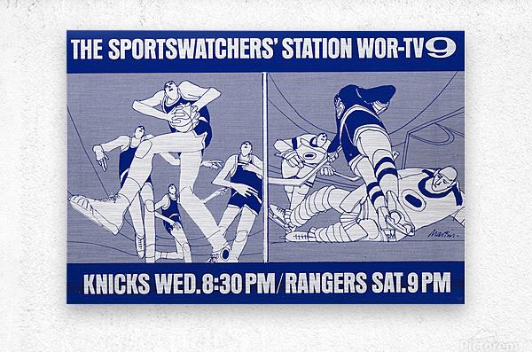 1967 New York Knicks and Rangers WOR TV9 Ad  Metal print