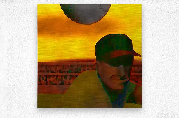 1963 Vintage Baseball Sunset Pitch Art  Metal print