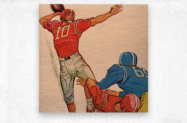 1959 Vintage Football Quarterback Art  Metal print