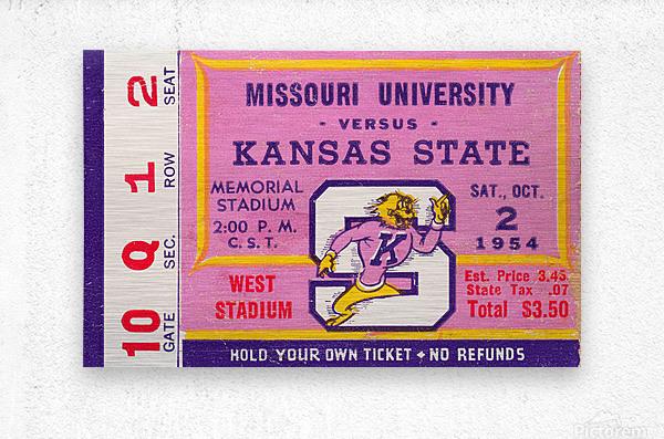 1954 Missouri Tigers vs. Kansas State Wildcats Ticket Stub Art  Metal print