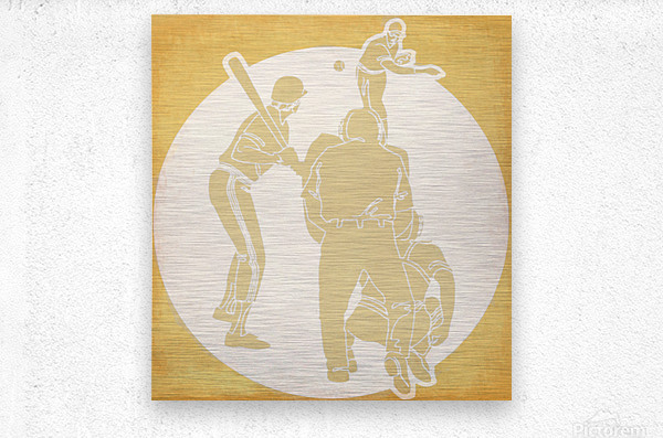 Retro Baseball Pitcher and Batter Art  Metal print