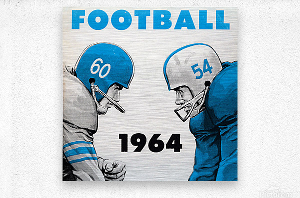 1964 Linemen Football Art  Metal print