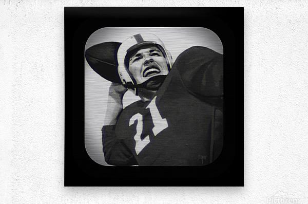 1954 Vintage Television Set Football Quarterback Art  Metal print