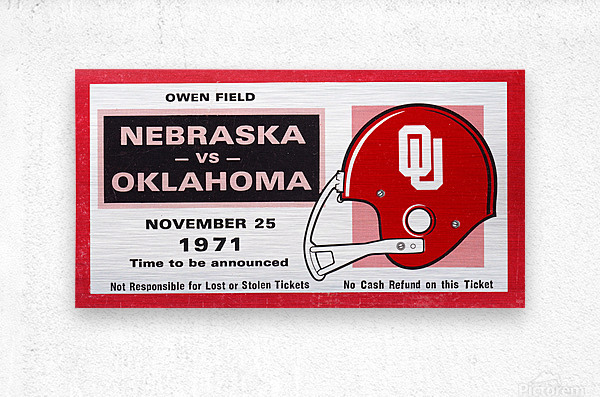 1971 Oklahoma Nebraska Game of the Century Ticket Stub Remix Canvas Art  Metal print